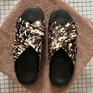 Gentle Souls Black Rock calf hair slide sandals